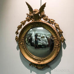Federal-style Carved and Gilt-gesso Convex Mirror