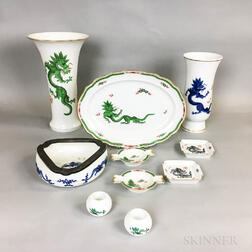 Ten Pieces of Meissen Green and Blue Dragon Porcelain Tableware