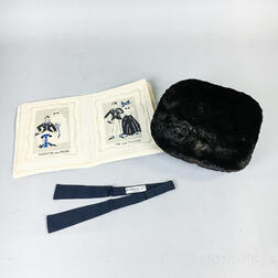 Black Fur Muff, French Black Silk Bowtie, and a Hand-painted Photo Album on Linen.     Estimate $100-150