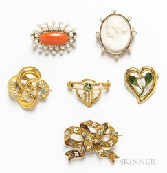 Six Gold Vintage Brooches
