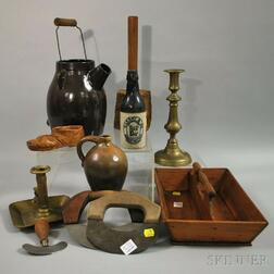 Eleven Country Wood, Metal, and Stoneware Items