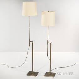 Pair of Modernist Metal Floor Lamps by Laurel