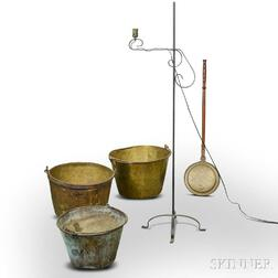 Three Brass Buckets, a Bedwarmer, and a Floor Lamp.     Estimate $200-300