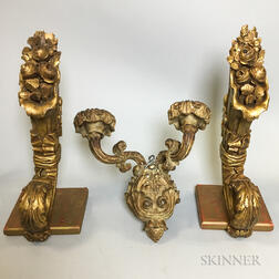 Pair of Carved and Painted Wood Cornucopia Wall Brackets and a Two-light Wall Sconce