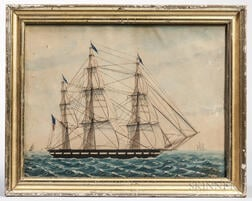 American School, 19th Century      Portrait of a United States Frigate