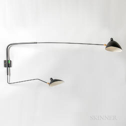 "Two-arm Adjustable Wall Sconce in the Style of Serge Moulle's ""Applique Simple a Deux Bras,"""