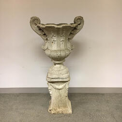 Neoclassical-style Cast Cement Urn and Pedestal