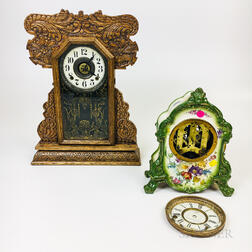 Carved Oak Gingerbread Shelf Clock and an Ansonia Ceramic Mantel Clock.     Estimate $100-150