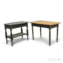 Two Turned and Painted Worktables