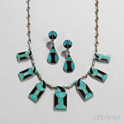Rare Zuni Necklace and Matching Earrings by Frank Vacit