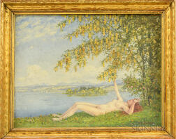 Robert Büchtger (Russian, 1862-1951)      Reclining Nude by a Lake Shore.
