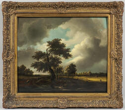 Attributed to George Vincent (British, 1796-1831)      Broad Landscape with Shepherds and Flock Beneath the Trees