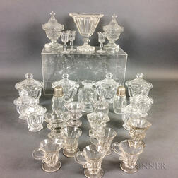 Twenty-seven Pieces of Colorless Glass Tableware