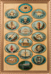 Large Odd Fellows Symbols Tracing Board Lithograph