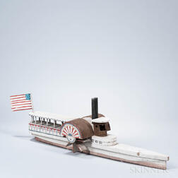 Painted Wood and Tin Model of a Sidewheeler