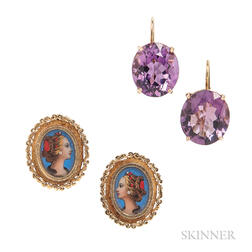 Pair of 18kt Gold Portrait Earclips and a Pair of 14kt Gold and Amethyst Earrings