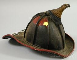 Painted Molded Leather Firefighter's Helmet with Metal Eagle Adornment