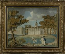 Silk Needlework Picture of George and Martha Washington Strolling the Grounds of Mount Vernon, with Georges Valet Billy Lee, and His H