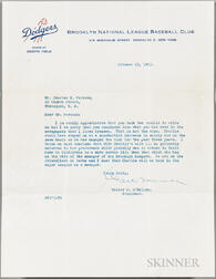 O'Malley, Walter F. (1903-1979) Typed Letter Signed, 23 October 1953.