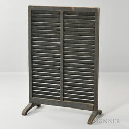 Small Green-painted Louvered Firescreen