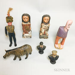 Seven Carved, Painted, and Molded Plaster and Wood Figures