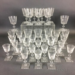 Thirty-six-piece Set of Colorless Glass Stemware