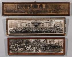 Three Framed Panoramic Odd Fellows Lodge Member Photographs