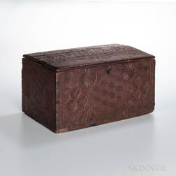 Chip-carved and Red-painted Pine Box