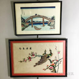 Framed Hokusai Woodblock of the Munnen Bridge of Fukagawa and an Embroidered Picture of Peacocks