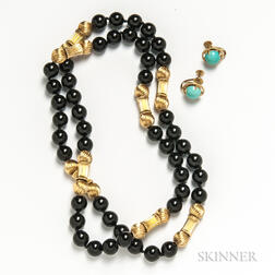 Onyx Bead Necklace and Pair of 14kt Gold and Turquoise Earclips
