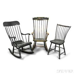 Two Boston Rockers and a Windsor Side Chair.     Estimate $20-200