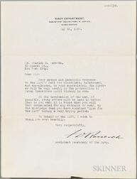 Roosevelt, Franklin Delano (1882-1945) Typed Letter Signed, 16 May 1918.