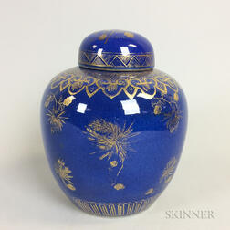 Asian Powder Blue Covered Jar with Gilt Accents