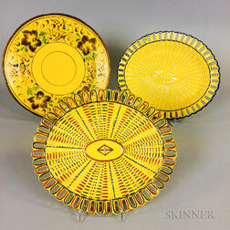 Three Staffordshire Yellow-glazed Ceramic Dishes