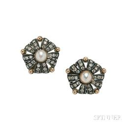 Silver-topped Gold, Pearl, and Diamond Earrings