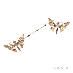 Pair of Gold and Diamond Butterfly Brooches