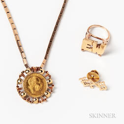 14kt Gold Initial Ring, Tie Pin, and an Austrian Gold Coin Pendant on a Gold-filled Chain