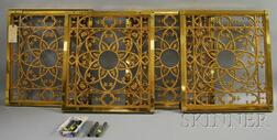 Set of Four Gothic-style Brass-framed Cast Bronze Architectural Panels
