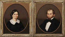 Horace Bundy (American, 1814-1883)      Pair of Portraits of a Husband and Wife.