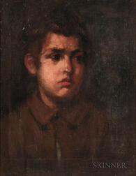 School of Frank Duveneck (American, 1848-1919)    Bust-length Portrait of a Young Man