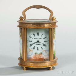 French Miniature Gilt and Porcelain Panel Carriage Clock