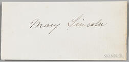 Lincoln, Mary Todd (1818-1882) Signature.