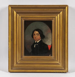 William H. Townsend (Connecticut, 19th Century)      Portrait of a Young Man in a Black Jacket