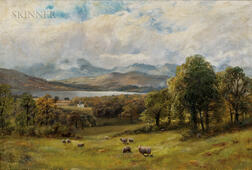 James Henry Crossland (British, 1852-1939)      Valley Landscape with Sheep at Pasture and Distant Lake