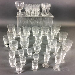 Forty-eight Mostly Steuben Colorless Glass Cordials and Whiskeys