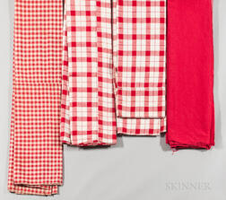 Four Red-checked Linen Bed Ticking/Mattress Cases