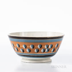 Cat's-eye and Slip-decorated Pearlware Punch Bowl