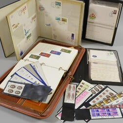 Group of Israeli First Day Covers and Four Stamp Albums