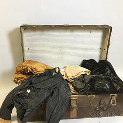 Steamer Trunk and Group of Victorian Clothing.     Estimate $200-400