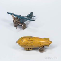 Cast Iron Airplane and Blimp Toys